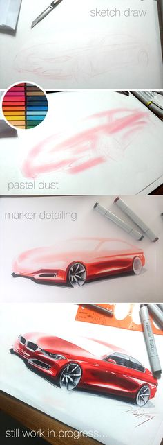 car rendering with Copic Marker by Orhan Okay. (work in progress...) February 2014.