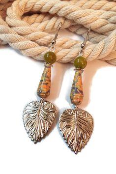 Boucles d'Oreilles Perles en Papier - Perles Artisanales - Perles de Jade - Pendantes - Feuilles - Vertes
