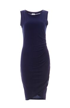 BOBI Sleeveless Side Ruched Cotton Dress in Navy S - M   DAILYLOOK