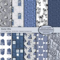 Don't Blink! Doctor Who inspired Digital Pattern Paper Instant Download with angels, tardis & daleks, for Dr. Who themed crafts