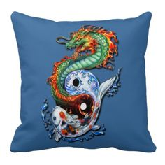 Oriental Fantasy Art. Unique, trendy, fashionable and pretty throw pillow. Beautiful Koi fish and fire dragon forming the yin yang symbol, on blue background. For the tattoo artist, oriental, Chinese or Japanese art, dragon, fantasy creature, or science fiction lover. Cool birthday gift or Christmas present. Stylish pillow for the master or children's bedroom, college dorm, living or family room, or office.