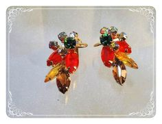Vintage Juliana Earrings  Fall Colors Wire Over by bodaciousjewels, $38.00