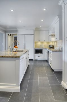 Kitchen Contemporary Kitchen · Gray Tile FloorsTile ...