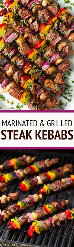 Steak Kebabs - there's are one of the best steak recipes! Cubes of steak are soa. Steak Kebabs - there's are one of the best steak recipes! Cubes of steak are soaked in a flavorful marinade for hour Kabob Recipes, Grilling Recipes, Beef Recipes, Cooking Recipes, Cake Recipes, Healthy Grilling, Recipies, Grilling Sides, Cooking Corn