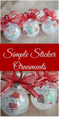 Create a Christmas tradition and make a new ornament for the tree each year. These simple sticker ornaments are an easy ornament kids craft idea. #ad #99yourholiday #doingthe99 #christmasornament #kidscraft
