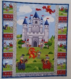 Castle, Knights and Dragon Quilt, Boy or Girl, Toddler or Child Quilt, Crib Quilt, Floor Quilt, Cot Quilt for Pre-Schoolers, Wall Hanging
