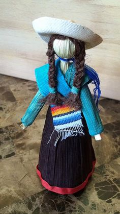 Mexican Corn Husk Doll with a Serape and by CornHuskCrafts on Etsy