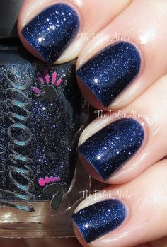 Twinkle, Twinkle Little Star is a dark blue jelly with silver micro glitter. This is supposed to be a dupe of Essie's Starry Starry Night,
