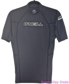 O'Neill Mens Rash Guard Shirt Wetsuit Skins UV Protect Surf Short Sleeve Gray M  #ONeill #Rashguard