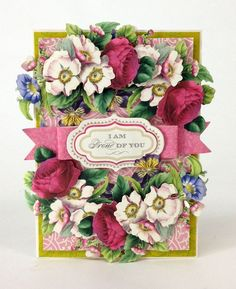 cardmaking Anna Griffin card - floral explosion!  Die cut flowes - roses, rose hips, morning glory, pansy, die cut sentiment, fish tail bow.  Just stunning!