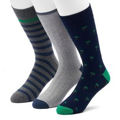 Men's SONOMA Goods for Life™ 3-pack Palm Trees, Solid & Striped Crew Socks, Size: 7-12, Blue
