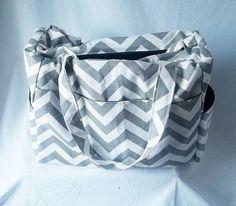 Chevron diaper bag with zippered closure - Large Grey chevron baby bag - zig zag medium weekender -Made to Order on Etsy, $75.00