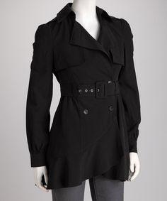 Black Ruffle Trench Coat by Double Zero