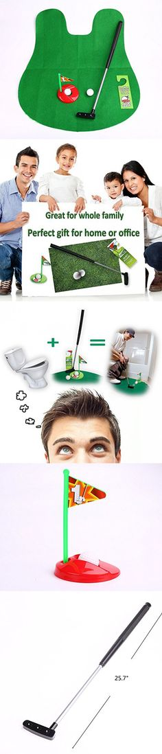 Potty Putter Putting Mat Golf Game - A Whimsical Golfing Indoor Practice Mini Golf Gag Gift Set - Kids Men Funny Novelty Toy Training Accessory Aid for Any Toilet