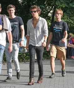 Turned tourist: Harry Styles was up bright and early on Wednesday to take a morning stroll through Central Park with pals