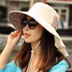 Womens Beige Flower Print Sun Protecting Sunhats