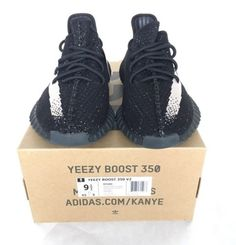 the latest 2011c eea9e Adidas Yeezy Boost 350 V2 BY1604 Core BlackWhite Size 9.5 Authentic New!  Oreo