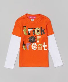 Another great find on #zulily! Orange 'Trick or Treat' Layered Tee - Infant, Toddler & Kids by The Princess and the Prince #zulilyfinds