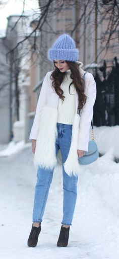 """""""Dropping temperatures are no reason to stay inside and decline a party invite, especially with this woolen, faux fur coat. Featuring a pure snow white hue, classic longline silhouette, and the. Cute Winter Outfits, Fall Outfits, Cute Outfits, Look Fashion, Fashion Outfits, Womens Fashion, Winter Wear, Autumn Winter Fashion, Fur Vest Outfits"""