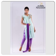 """FASHION CAN BE BOUGHT, STYLE ONE MUST POSSESS""  Description: Pure powder blue rawsilk kurti embellished with creeper work on the shoulder and sleeve with mirror,zardosi, sequence, beads and threadwork , purple straight pant with creeper work at the bottom and shaded crushed dupatta  #archithanarayanamofficial #bridal #couture #banjarahills #hyderabad #designerwear #indianwear #pure #rawsilk #powderblue #intricate #handwork #zardosi #mirror #sequence #beads #straightpants #classy #elegant…"