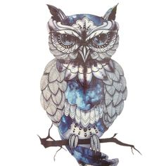 Blue OWL SO COOL NEW ARRIVAL 21 X 15 CM Temporary Tattoo Stickers Temporary#89