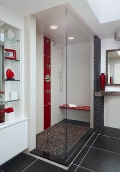 Red Black And Grey Bathroom Maybe With White Wainscoting To Make It Fell More Like A Country Farmhouse My Future Home Pinterest Bathrooms