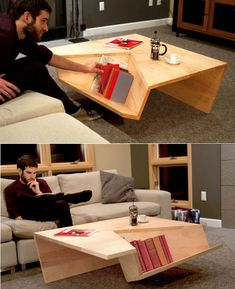 Coffee table clever design. This is pretty awesome!