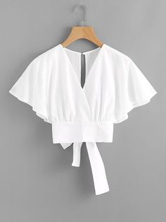 Romwe Deep V-cut Split Back Bow Tie Blouse