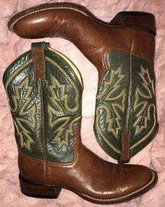 Mens 14 AAA Rod Patrick Leather Cowboy Boots Green Shaft Brown Vamp EUC Handmade #RodPatrick #CowboyWestern
