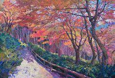 Painting of Sogenchi Garden in Arashiyama, Kyoto Japan by American painter Erin Hanson