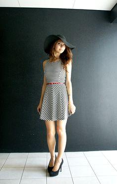 floppy hat + skater dress