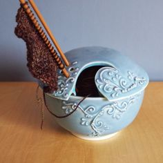Favorite  Like this item?    Add it to your favorites to revisit it later.  twilight sky yarn bowl with scrolls
