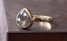 Charcoal Grey Rose Cut Diamond Ring in 14kt Yellow Gold. $995.00, via Etsy.