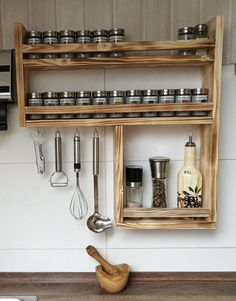 Spice shelf made of recycled old wood, upcycling Spice rack made of old wood with lots of space!: height width 59 cm, depth 10 cm in Kitchen Shelves, Diy Kitchen, Kitchen Decor, Kitchen Wood, Kitchen Ideas, Kitchen Racks, Messy Kitchen, Kitchen Supplies, Kitchen Furniture