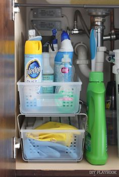 How to get organized under the kitchen sink. Some helpful tips to make the most of this space.