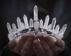 Mountain Witch Quartz Crown  Here is a crown fit for a true pentacle queen, head in the sky and feet in the earth. Pure quartz polished points are tethered to a hammered metal armature into the arcing silhouette of a fae and regal full crown.