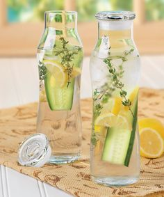 Farm to Table Infusion Glass Bottles / fill ahead of time, store in the fridge, and refresh yourself this summer with something ultra healthy!