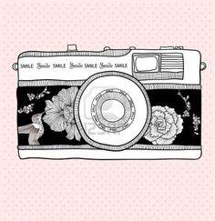 Fondo con cámara retro. Ilustración vectorial. Cámara de fotos con flores y pájaros. Cámara con motivo floral. Foto de archivo - 10772634