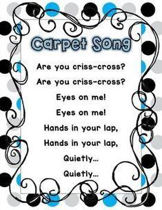 """I teach Kindergarten and we sing songs all day! I sing this song as well transition to """"carpet"""" or """"circle"""" time. My kiddos need a poster to reference it and I use this to teach the song. There are 2 different versions (in the preview) one with no pictures and larger font and one with pictures.Please leave feedback if you are downloading!If you have any suggestions, or would like to edit it please feel free to ask or e-mail me at chacker@sixmilecharter.orgThank you for your support!"""