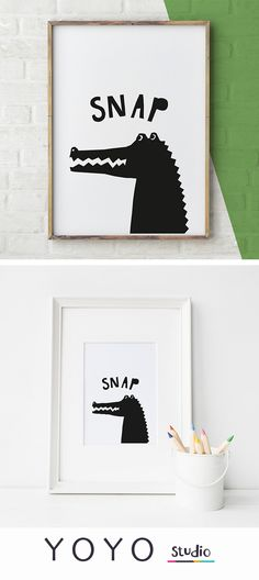 Black and White Nursery Wall Art. This Alligator print would look great in a boys nursery or cool girls room.