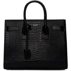 Saint Laurent Black Croc-Embossed Small Sac de Jour Tote (€2.965) ❤ liked on Polyvore featuring bags, handbags, tote bags, borse, black, genuine leather handbags, crocodile leather handbags, studded tote, croc tote and leather handbags