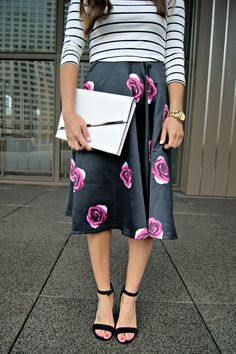 Floral Midi Skirt, Floral Skirt and Striped Shirt, Floral and Stripes