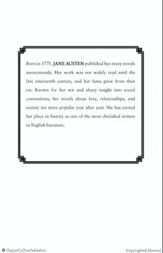 Jane Austen, a brief biography from Pride and Prejudice!