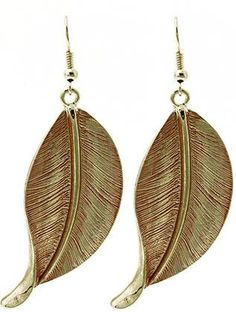 Red Etched Leaf Drop Earrings from Helen's Jewels