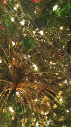 Close up of the Red, Gold and Green Christmas tree.
