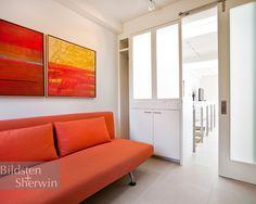 Delightful Beach House in Minimalist Style : Fabulous Family Room Red Sofa Sliding Door Miramar