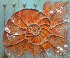Nautilus shell by Sue Shaw from gesso, modelling paste and acrylic paints