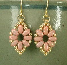 Linda's Crafty Inspirations: Liz Band & SuperDuo Flower Chain Earrings - Pink & Gold