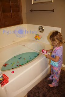 Great idea for rainy weather - bath tub letter fishing (and when they get older they can fish letters to create words!)