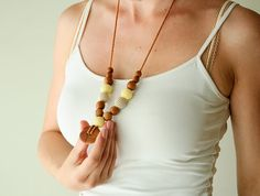 Applewood Nursing Breastfeeding Necklace / Teething Toy - light yellow and oatmeal crochet beads